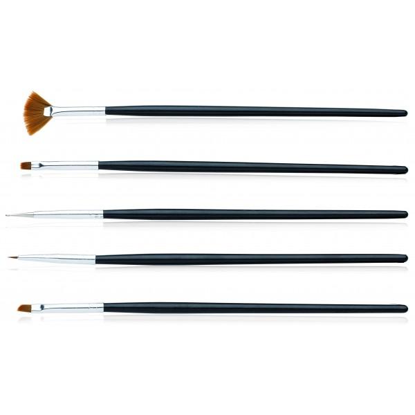 Kit de 5 pinceaux Nail Art, en vente sur beauty Coiffure