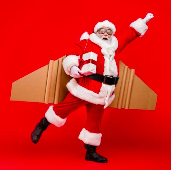 Père Noel sur fond rouge