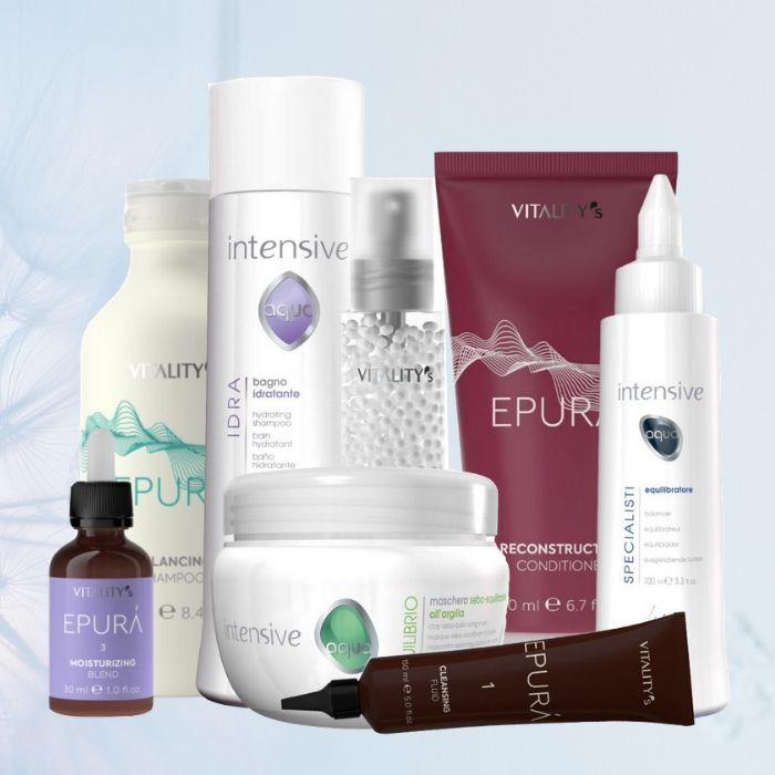 Découvrez la large gamme de soins cheveux Vitality's. Des soins adaptés aux besoins spécifiques de vos cheveux. Parmi les grandes lignes de soins capillaires Vitality's, craquez pour Epura et ses 10 gammes spécifiques. À retrouver sur beautycoiffure.com.