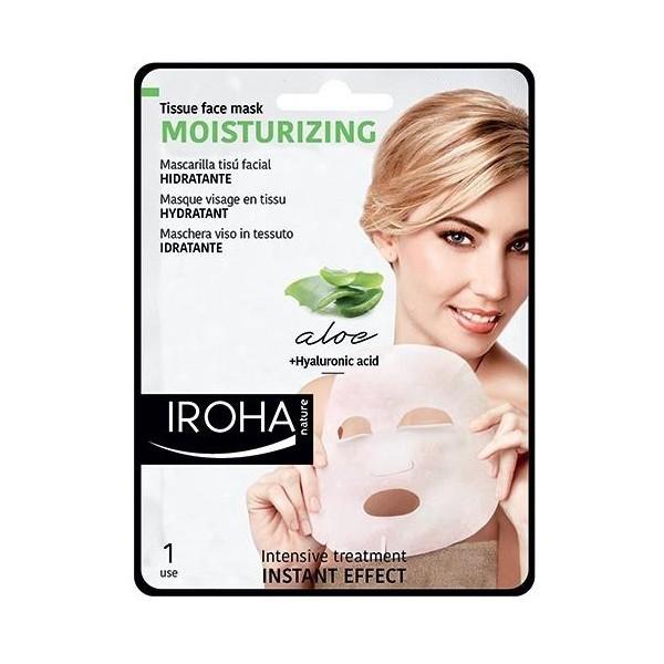 Masque visage tissu hydratant IROHA. À retrouver sur beautycoiffure.com