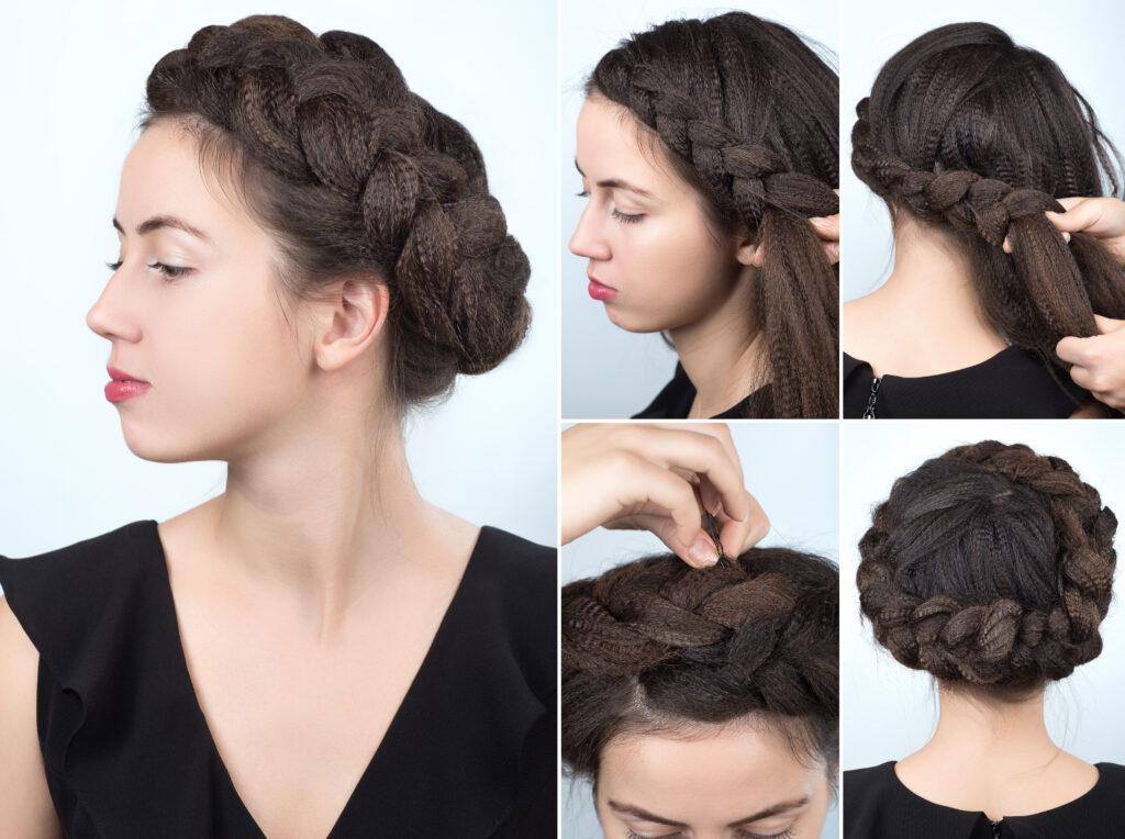 Jeune femme brune portant le tresse serre-tête. Image tutoriel tresses en couronne.