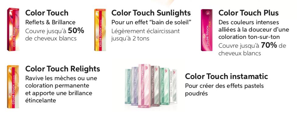 Toutes les colorations Color Touch de Wella Professionnel.