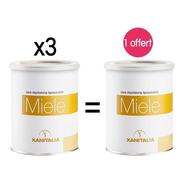 4 pots Cire Jetable Liposoluble Miel Xanitalia 800ml 1 offert, à retrouver sur beautycoiffure.com.