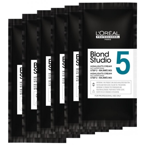 Sachets de décoloration 5 tons Majimèches Blond Studio L'Oréal Professionnel, à retrouver sur beautycoiffure.com.