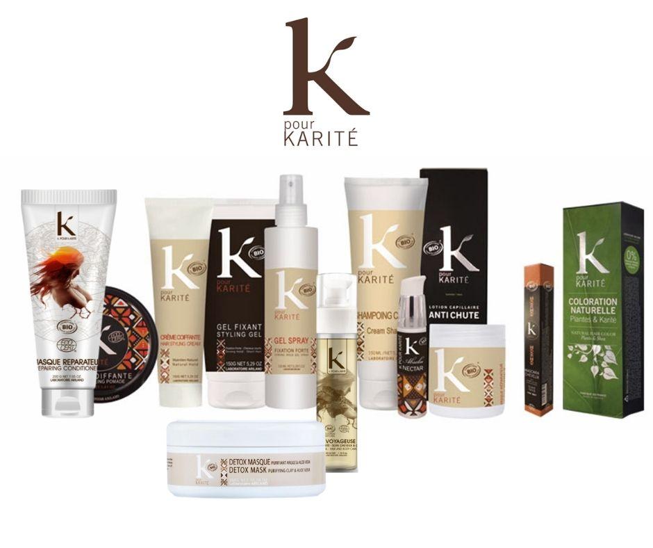 K pour Karité, produits certifiés écovert, écologiques et biologiques, à retrouver sur beautycoiffure.com.
