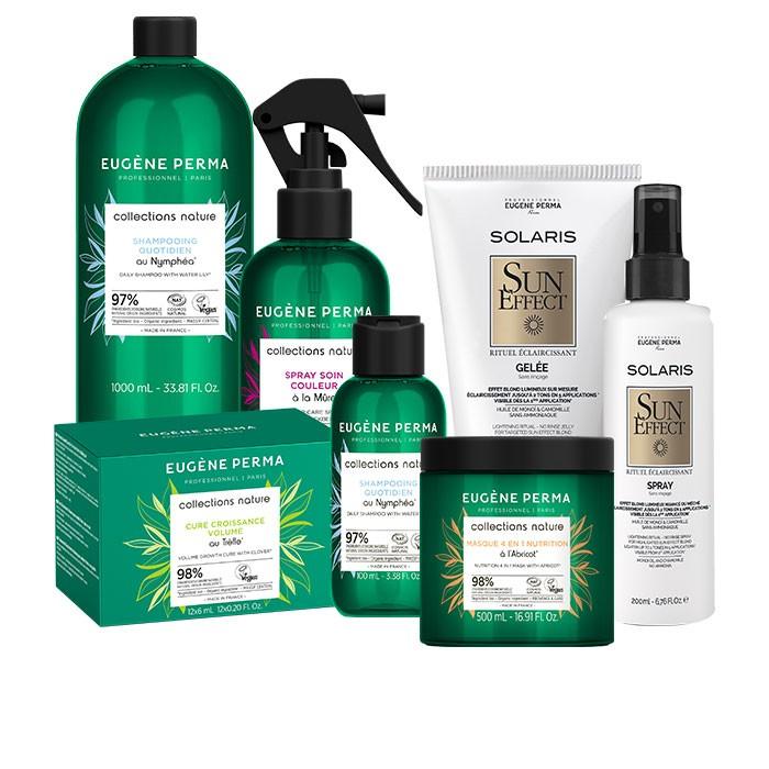 Retrouvez les soins cheveux Eugène Perma, la marque privilégie les matières premières. À retrouver sur beutycoiffure.com.