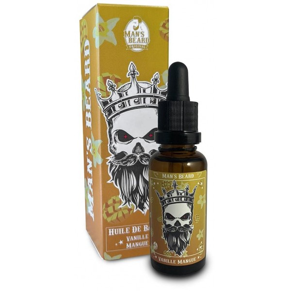 Découvrez l'huile parfumée vanille, mangue de la marque française Man's Beard sur beautycoiffure.com