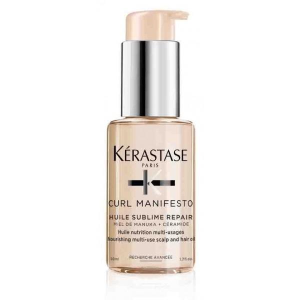 Découvrez l'huile sublime Curl Manifesto de Kérastase, une huile nutritive multi-usage pour prendre soin des cheveux et du cuir chevelu. À retrouver sur beautycoiffure.com.