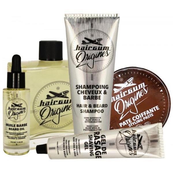 Retrouvez le pack Origines de HAIRGUM sur beautycoiffure.com. Vous trouverez de l'huile pour barbe, une pâte coiffante, un gel de rasage, un shampoing cheveux & barbe et une eau de Cologne.