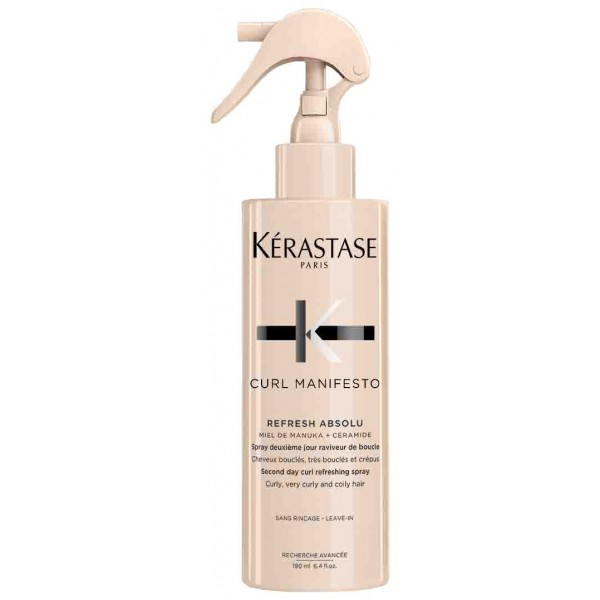 Le spray Refresh Absolu de Kérastase est un soin raviveur de boucles. À retrouver sur beautycoiffure.com.