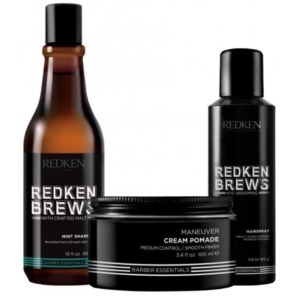 Retrouvez le pack soin cheveux Trio Mint Clean de Redken Brews sur beautycoiffure.com.