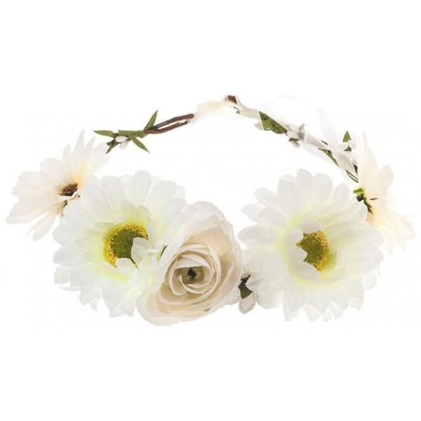 Couronne de fleurs en couleur, à retrouver sur beautycoiffure.com.