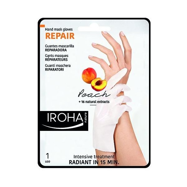 Gants réparateurs mains et ongles IROHA, à retrouver sur beautycoiffure.com.