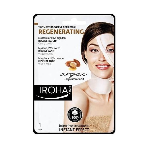 Le masque visage & cou en coton régénérant IROHA à l'huile d'argan, à retrouver sur beautycoiffure.com.
