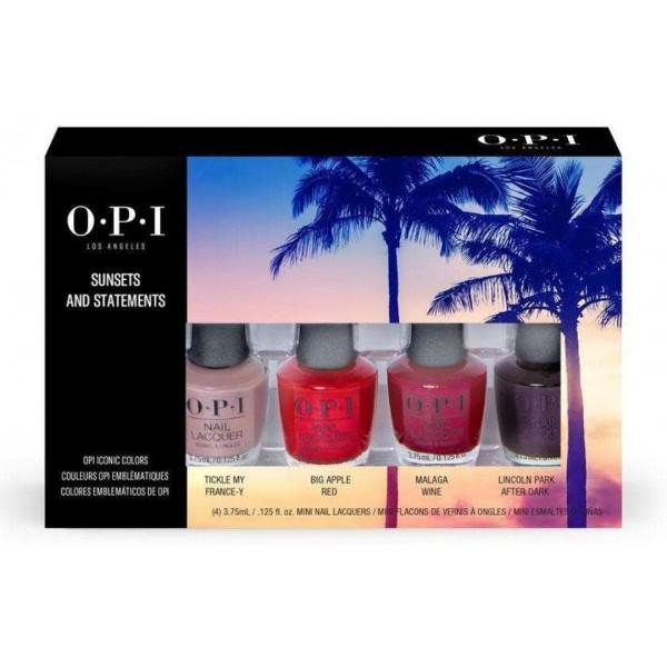 Kit de 4 minis vernis Sunset and Statement de OPI, à retrouver sur beautycoiffure.com.