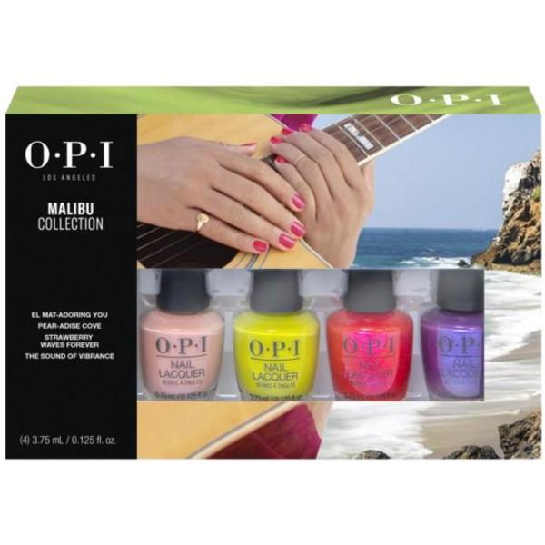 Kit de 4 minis vernis de la collection Malibu de OPI, à retrouver sur beautycoiffure.com.
