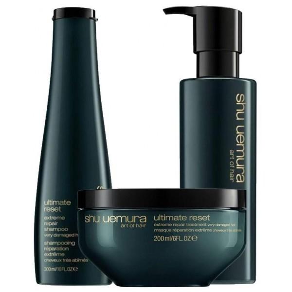 Trio de soins cheveux Ultimate Reset de Shu Uemura, à retrouver sur beautycoiffure.com.
