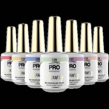 Collection Nude and Pastel de vernis semi-permanent de Mollon Pro de la gamme Luxury à retrouver sur beautycoiffure.com.