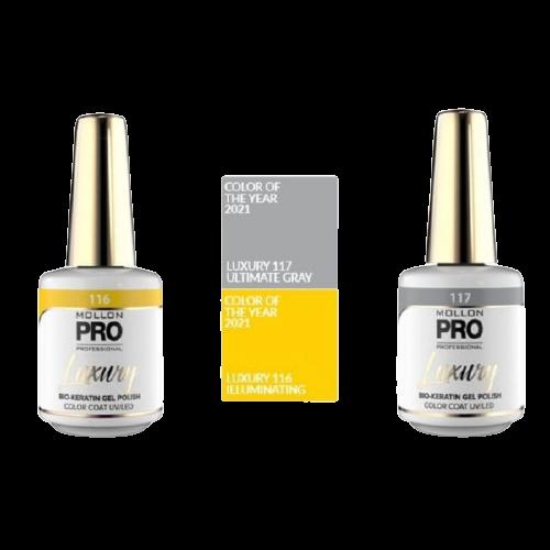 Luxury de Mollon Pro de la collection Color of the Year couleur jaune illuminating et gris Ultimate Gray, à retrouver sur beautycoiffure.com.