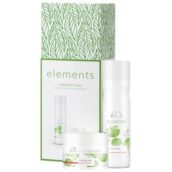 Coffret shampooing et masque Elements de Wella, à retrouver sur beautycoiffure.com.
