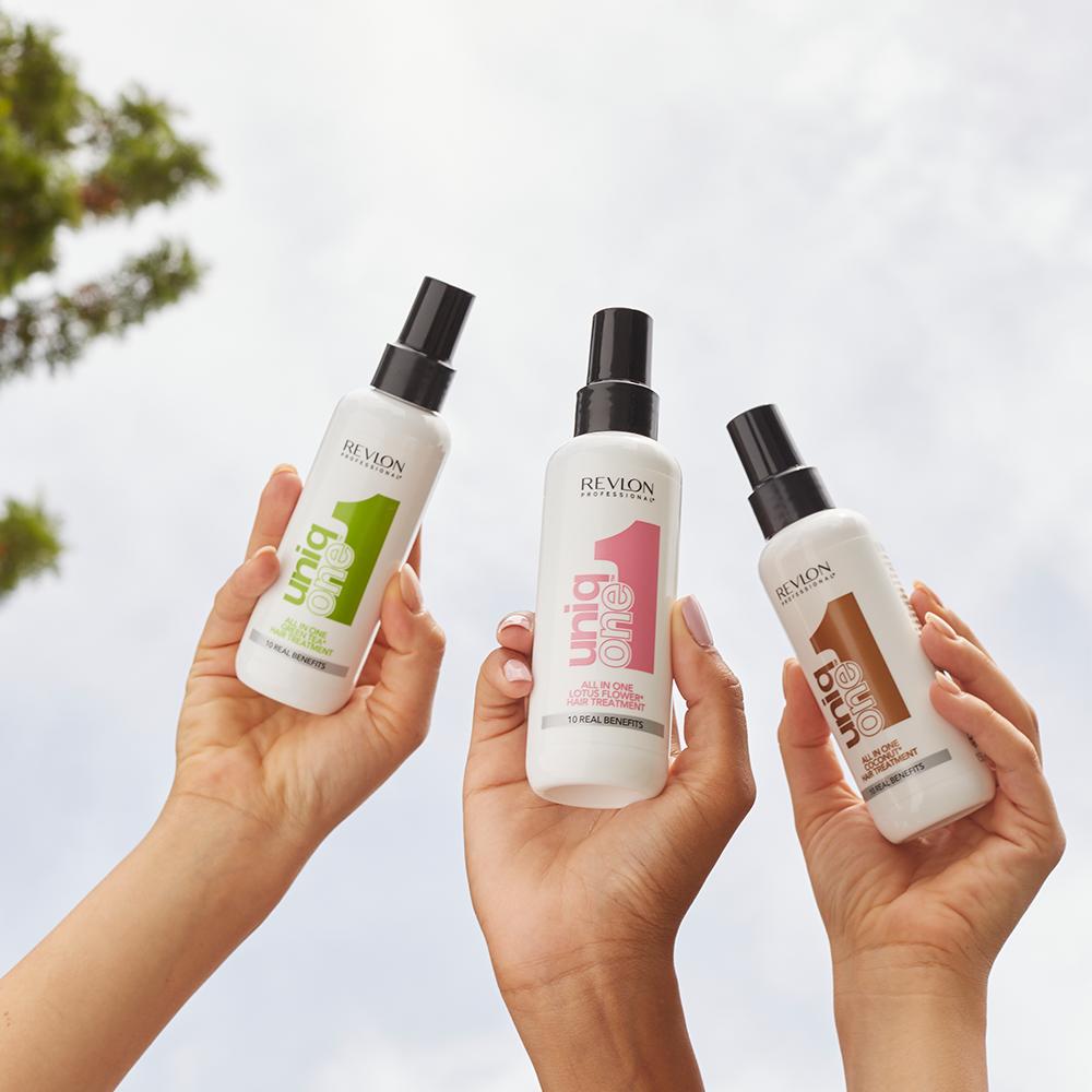 Uniq One Lotus, Thé Vert et Coco nouveaux packagings. À retrouver sur beautycoiffure.com.