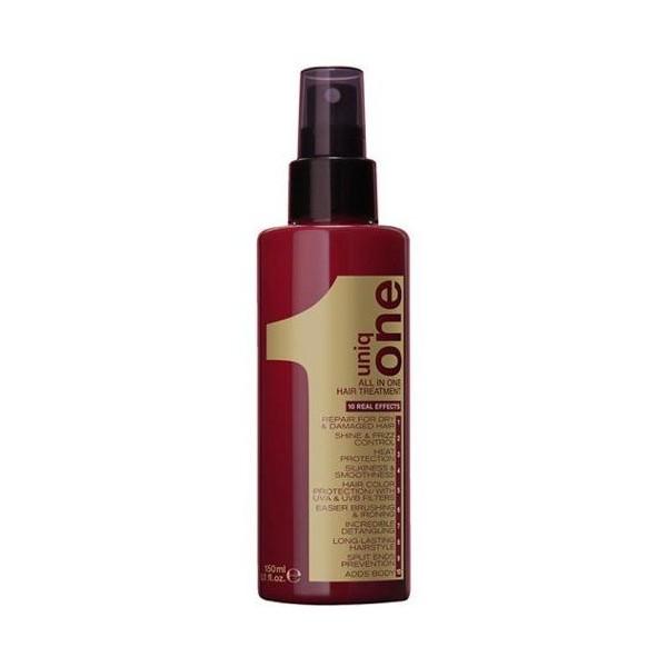 L'ancien packaging du spray Uniq One. À retrouver sur beautycoiffure.com.