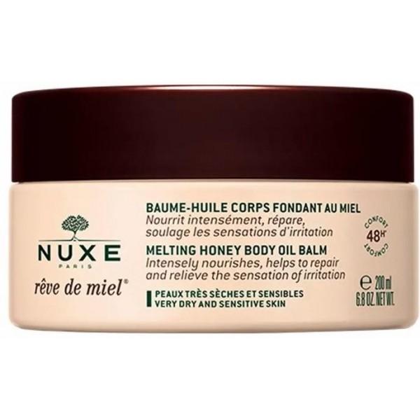 Découvrez le Baume-Huile corps Fondant au miel de Nuxe, à retrouver sur beautycoiffure.com.