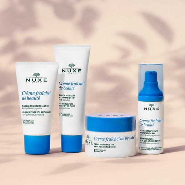 Découvrez les soins visage Anti-pollution Crème Fraîche de beauté de Nuxe, à retrouver sur beautycoiffure.com.
