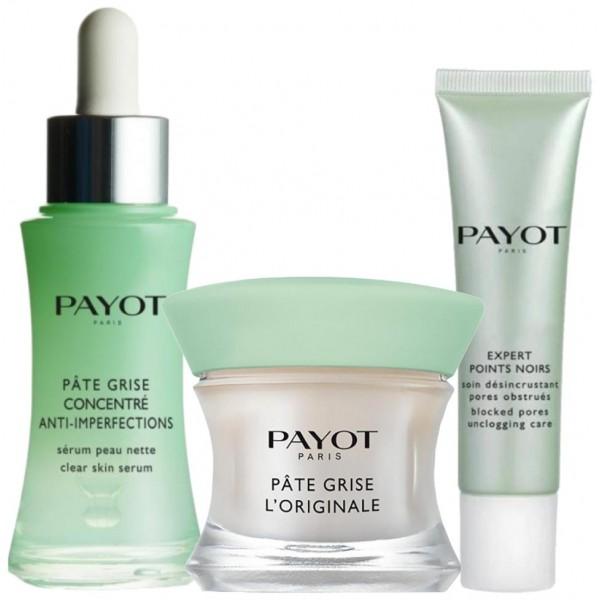 Découvrez la routine soin visage Pâte Grise pour les peaux mixtes de Payot, à retrouver sur beautycoiffure.com.