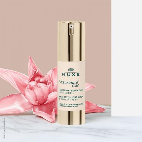 Découvrez le soin visage le sérum nutri-revitalisant Nuxuriance de Nuxe, à retrouver sur beautycoiffure.com.