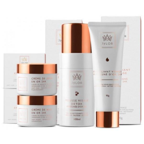 Découvrez la routine visage pour nettoyer et hydrater votre peau, Jylor vous propose un set complet pour votre routine beauté quotidienne. La routine contient 4 produits. À retrouver sur beautycoiffure.com.